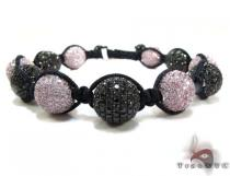 Pink and Black Color CZ Bead Ball Bracelet Rope Bracelets