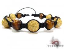 Tiger Eye with Canary Color CZ Bead Ball Bracelet Rope Bracelets