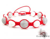 Small Red Rope with White Color CZ Bead Ball Bracelet Rope Bracelets