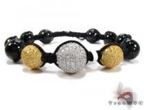White and Canary Color CZ Bead Ball Bracelet Silver