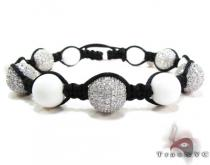 Black Rope with White Color CZ Bead Ball Bracelet ロープ ブレスレット