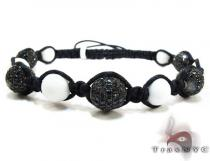 Small Black Rope with Black Color CZ Bead Ball Bracelet Silver