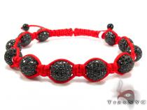 Red Rope with White Color CZ Bead Ball Bracelet ロープ ブレスレット
