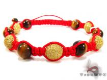Tiger Eye with Canary Color CZ Bead Ball Bracelet Silver & Stainless Steel