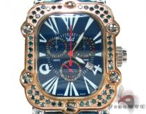 Aqua Techno Rose and White Stainless Steel Blue Diamond Watch Aqua Techno