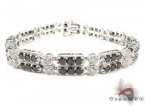 2 Row Black and White Diamond Bracelet Diamond
