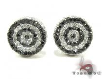 Black and White Circle Diamond Earrings Mens Diamond Earrings
