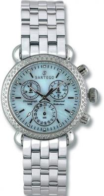 Sartego Sdbp389s Ladies Watch Diamond Chronograph Blue Dial Sartego