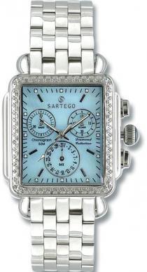Sartego Sdbp397s Ladies Watch Diamond Chronograph Blue Dial Sartego