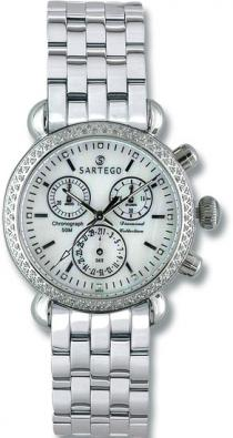 Sartego Sdmp387s Ladies Watch Diamond Chronograph Mother Of Pearl Dial Sartego