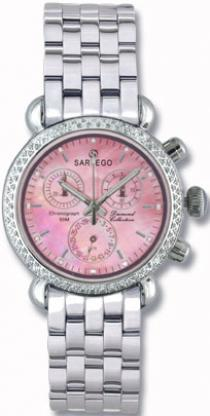 Sartego Sdpp384s Ladies Watch Diamond Chronograph Pink Mother Of Pearl Dial Sartego
