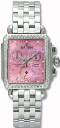 Sartego Sdpp398s Ladies Watch Diamond Chronograph Pink Mother Of Pearl Dial Sartego