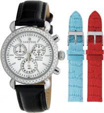 Sartego Sdwt107b Ladies Watch Diamond Strap Chronograph White Dial Sartego