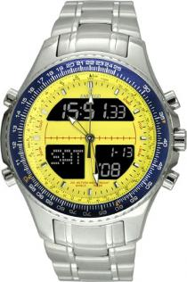 Sartego Spw37 Mens Watch Digital Alarm Chronograph World Time Yellow Dial Sartego