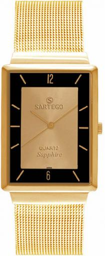Sartego Svs412 Watch Mid-size Ultra Thin Gold Tone Dress Gold Dial Mesh Band Sartego