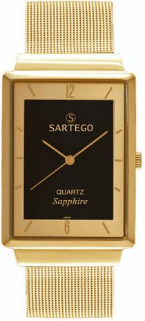 Sartego Svs821 Mens Watch Ultra Thin Gold Tone Dress Black Dial Mesh Band Sartego
