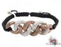 Twist Diamond with Rope Bracelet Silver & Stainless Steel