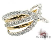Overlap Diamond with Two Tone Color Gold Ring レディース ダイヤモンド リング
