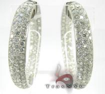 Pave Swoop Earrings 3 Diamond Hoop Earrings