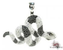 Viper Snake Black and White Diamond Pendant Metal