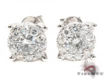 Surround Diamond with White Gold Earrings Diamond Stud Earrings