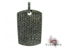Black Prong Diamond with Black Gold Dog Tag Diamond Dog Tags