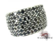 7 Row Fully Black Diamond Ring Mens Black Diamond Rings