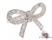 14K White Gold Diamond Ribbon Ring レディース ダイヤモンド リング
