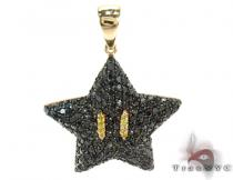 Super Mario Bros Star Black Color Diamond Pendant Diamond Pendants