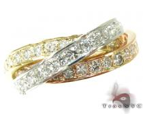 14K Tri-Tone Gold Overlay Diamond Ring Womens Diamond Rings