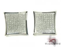 Curved Square Diamond Earrings 27121 Sterling Silver Earrings