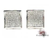 Curved Square Diamond Earrings 27122 Sterling Silver Earrings
