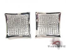 Curved Square Diamond Earrings 27123 シルバーイヤリング