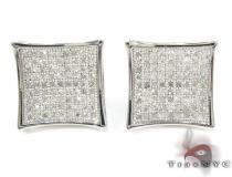 Curved Square Diamond Earrings 27124 Sterling Silver Earrings