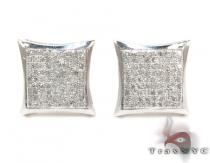 Curved Square Diamond Earrings 27126 シルバーイヤリング