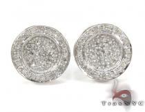 Button Diamond Earrings Metal