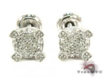 Sterling Silver Prong Diamond Stud Earrings 27131 Metal