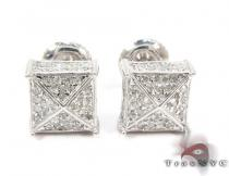 Unique Cube Diamond Stud Earrings 27132 Sterling Silver Earrings