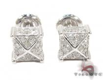 Unique Cube Diamond Stud Earrings 27133 Sterling Silver Earrings