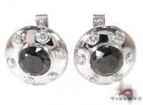Bezel Black and White Diamond Cuff Mens Diamond Earrings