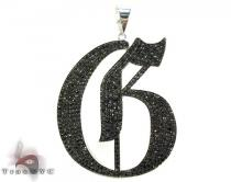 Custom Jewelry - Black Diamond Initial G Pendant Metal