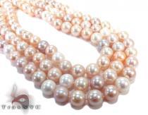 3 Row Pink Pearl Ladies Necklace Pearl