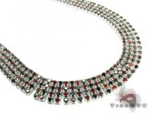 4 Row Black and Red Silver Chain 32 Inches 14mm 179.1 Grams Silver