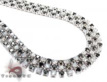 3 Row Black and White Silver Chain 34 Inches 10mm 137.9 Grams Silver