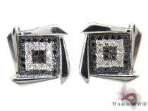 Black and White Boomerang Earrings 27232 Metal
