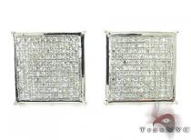 Silver 3D Square Earrings 27234 Sterling Silver Earrings