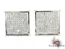Silver 3D Square Earrings 27235 Sterling Silver Earrings