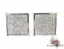 Silver 3D Square Earrings 27236 Sterling Silver Earrings