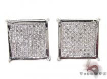 Silver 3D Square Earrings 27237 Sterling Silver Earrings
