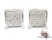 Silver Mini 3D Square Earrings 27238 Metal